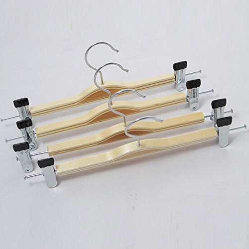 Kexinfan Hanger Natural Wooden Hanger With Clips For Pants,For Skirts,Laminated Wooden (10 Pieces/Lot)