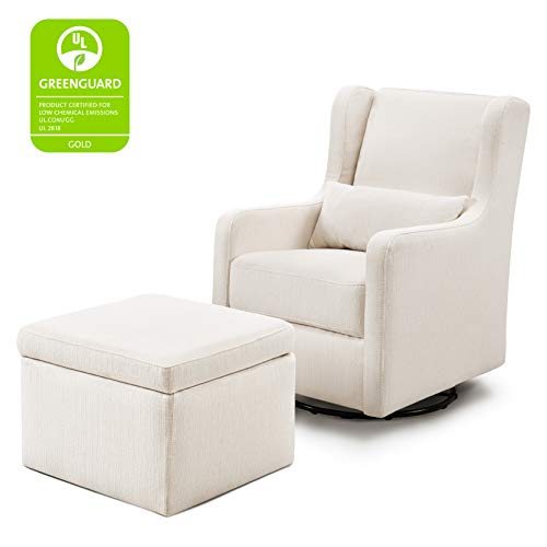 41J8bRje8kL - Carter's By Davinci Adrian Swivel Glider With Storage Ottoman In Cream Linen, Water Repellent And Stain Resistant Fabric, Greenguard Gold Certified