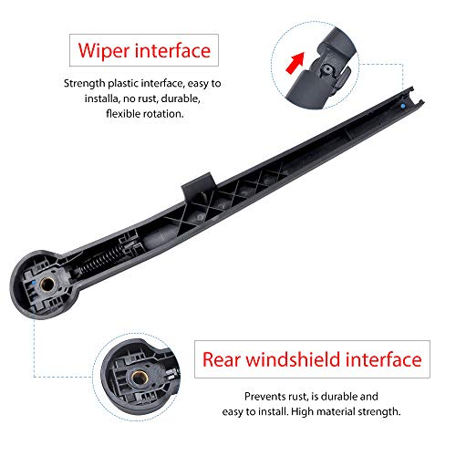 MIKKUPPA Back Windshield Wiper Assembly Replacement Rear Wiper Arm Blade Replacement for Jeep Grand Cherokee 2005-2010 All Season Natural Rubber Cleaning Window