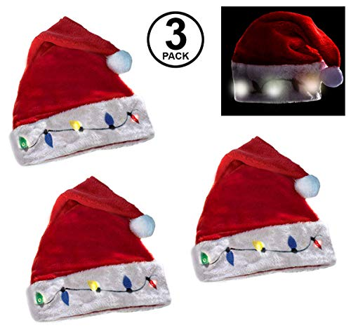 Funny Party Hats Blinking Santa Hats - Christmas Novelty Hats - 3 Pack of Santa Hats - LED Blinking Lights - Holiday Hats - Ugly Sweater Party Hats