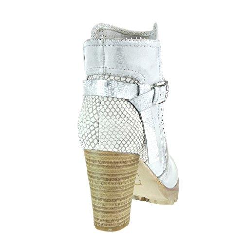 Angkorly - Scarpe da Moda Stivaletti - Scarponcini cavalier elegante zeppe donna pelle di serpente perforato tanga Tacco a blocco tacco alto 8 CM - Grigio