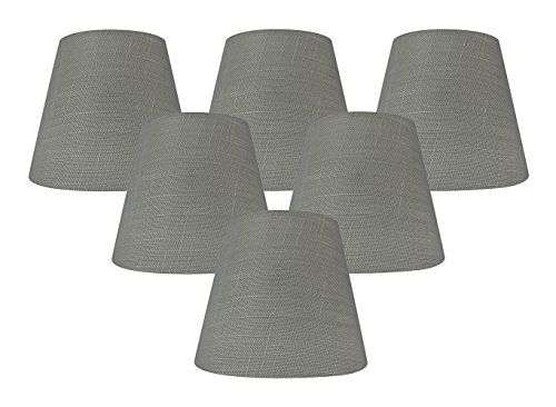 Meriville Set of 6 Gray Linen Clip On Chandelier Lamp Shades, 4-inch by 6-inch by 5-inch ()