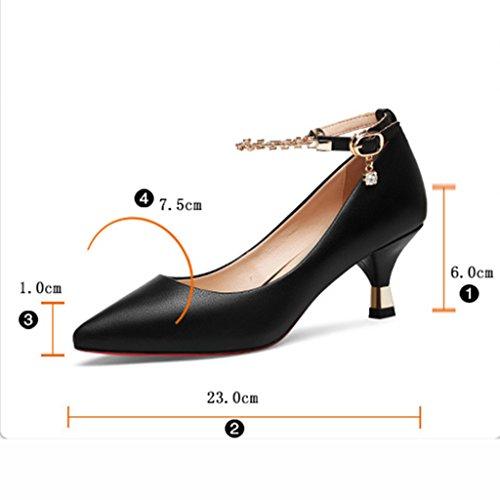 Pointues Simples Hauts Talons Les 36 Taille de femme HWF de Chaussures Noir Bouche Couleur Soulèvent Pointues Chaussures Les Blanc Ressort xSIg8q4