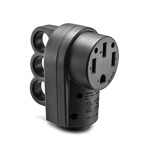 125v Hand Adapter - Aweking ETL Listed 50A AC 125V/250V RV Power Plug Adapter Connector 14-50R,50A 50 Amp,AC 125V/250V,Hand Grip Ring,Female Plug,Ergonomic Grip