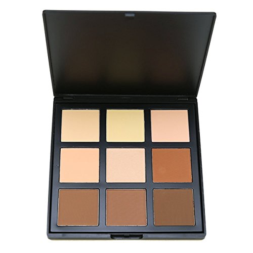 Face Base Foundation Palette 9 Color Natural Contour, Vodisa Highlighter Powder Kit Makeup Set, Cheek Foundation Pressed Powder Beauty Cosmetics Make Up Bronze Contouring and Highlighting Pallet (1)