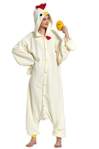 KING Fun Unisex Adult Chicken Cosplay Costumes Sleepwear Pajamas Large -