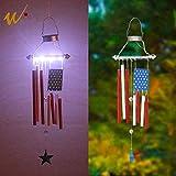 W-DIAN Metal American Flag Windchime Memorial Solar Garden Lights Outdoor Garden Decoration