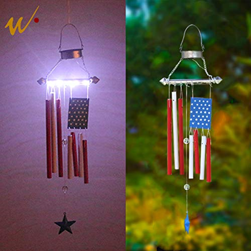 W-DIAN Metal American Flag Windchime Memorial Solar Garden Lights Outdoor Garden Decoration by W-DIAN