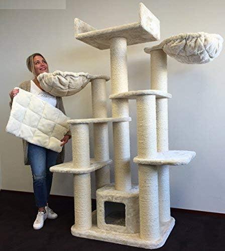 Rascador para gatos grandes Maine Coon Fantasy Crema baratos arbol xxl gato adultos con hamaca gigante sisal muebles escalador torre Árboles rascadores cama cueva repuesto medianos: Amazon.es: Productos para mascotas