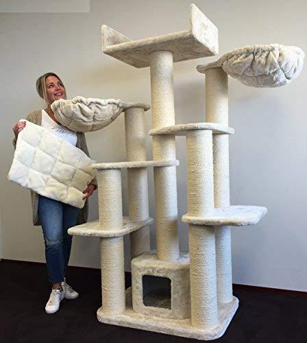 Fantástico árbol para gatos Maine Coon color blanco crema con postes 15 cm de diámetro y ...