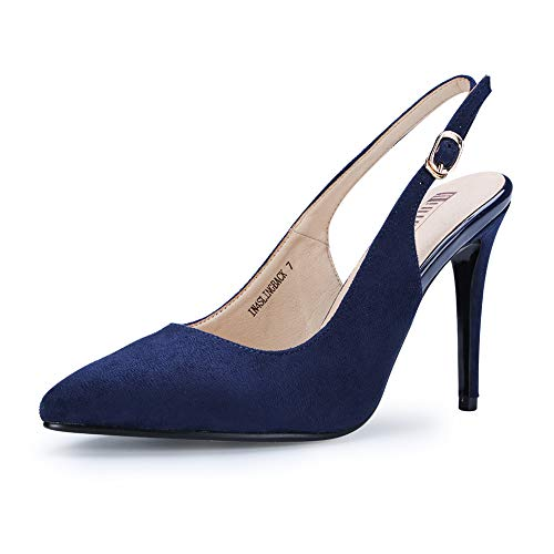 (IDIFU Women's IN4 Slingback Pointed Toe Ankle Strap Stiletto High Heel Dress Pump (Blue Suede, 9.5 B(M) US))