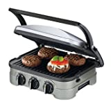Cuisinart 5 in 1 Griddler - Reversible and Non Stick, Panini Style Handle with Floating Hinge, Adjustable Temperature Controls, Integrated Drip Tray - 5 Appliances in One (Contact Grill, Panini Press, Full Grill, Full Griddle, and Half Grill/Griddle)