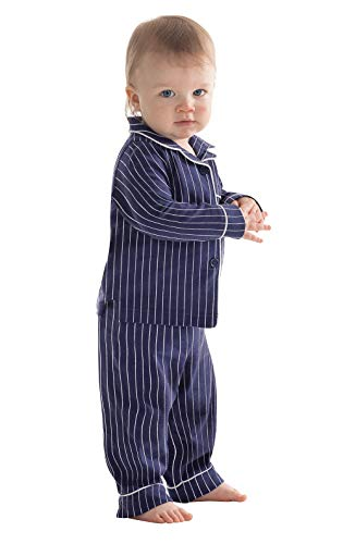 PajamaGram Cotton Jersey Classic Stripe Button-Front Pajamas, Navy, 2T