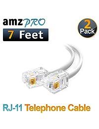 (2 unidades), color blanco corto cable de teléfono RJ11 macho a macho Cable de línea telefónica, Blanco