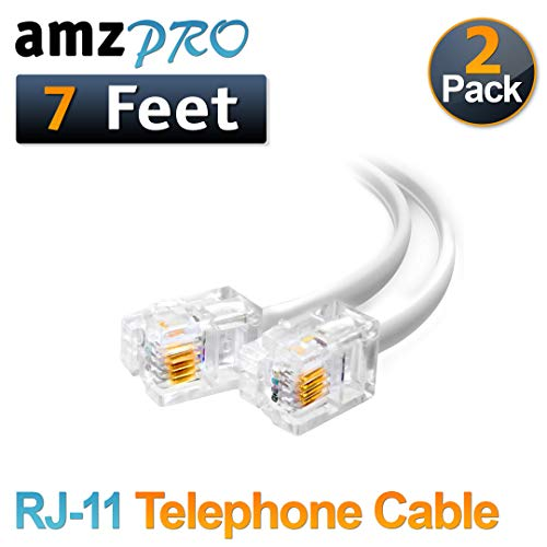 (2 Pack) 7 Feet White Telephone Cable Rj11 Male to Male 84 inch Phone Line - 7' Phone Cord Line