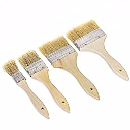 GHP Set of 4 Acrylic Wooden Handle Artist Oil Watercolor Paint Brushes Art Supply