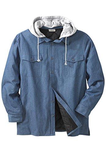 Men's Big & Tall Removable Hood Shirt Jacket, Medium Ston...
