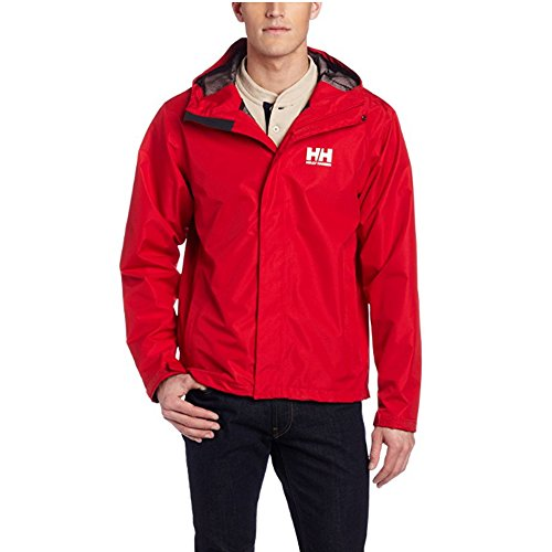 (Helly Hansen Men's Seven J Waterproof Windproof Breathable Rain Coat Jacket, 162 Red, Large)