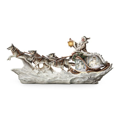 Wolf Art Illuminated Christmas Decor Sculpture Santa s White Wolf Sleigh