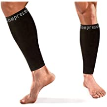 Copper Compression Recovery Calf Sleeves - Shin Splint Leg Sleeves. GUARANTEED Highest Copper Content + Graduated Compression. Great For Running & Sports! Support Sore Muscles & Joints. (1 PAIR)