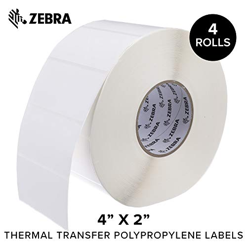 Zebra - 4 x 2 in Thermal Transfer Polypropylene Labels, PolyPro 3000T Permanent Adhesive Shipping Labels, Zebra Industrial Printer Compatible, 3 in Core - 4 Rolls
