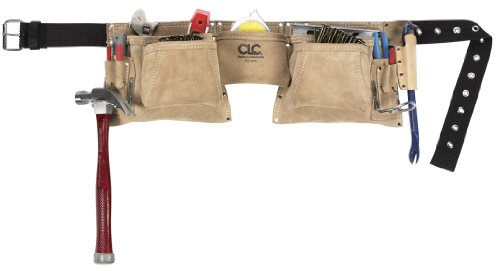 CLC Custom Leathercraft 527X Heavy Duty Top Grain Suede Construction Work Apron with 2 Hammer Loops, 12 Pockets by Custom Leathercraft