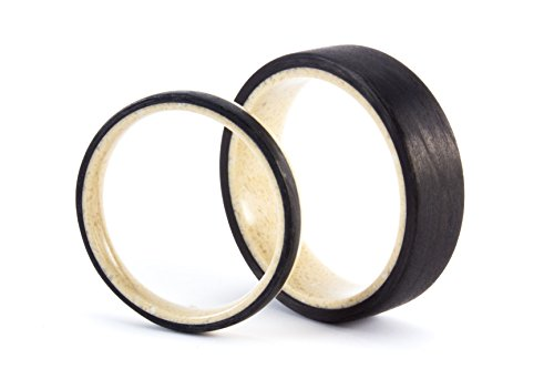 Set of two corian & carbon fiber wedding bands with matte finishing. Water resistant, very durable and hypoallergenic. (02201_3N_02202_7N)