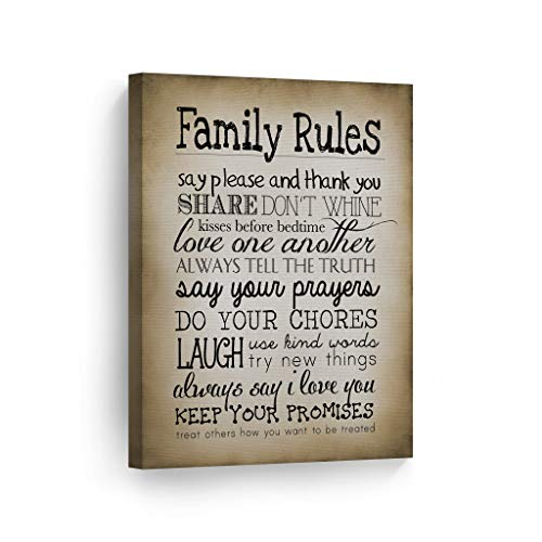 Family Rules Sign Wall Art Canvas Print Funny Quote Family Wall Décor Vintage Retro Artwork Living Room Home Decor Framed Stretched Ready to Hang-%100 Handmade in The USA - 17x11