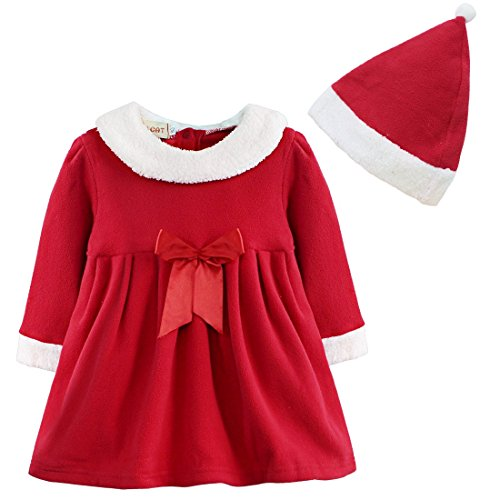 [TiaoBug Girls Christmas Santa Claus Bowknot Costume Dress with Hat Outfits (18-24 Months, Red)] (Father Of The Year Costume)