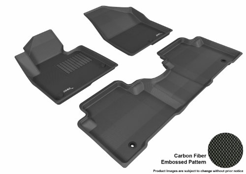 3D MAXpider L1HY01701509 Complete Set Custom Fit All-Weather Floor Mat for Select Hyundai Santa Fe Models - Kagu Rubber (Black)