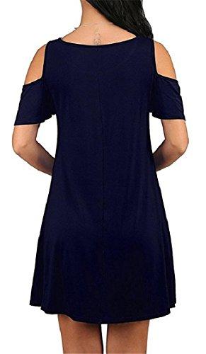 Sleeve Cold Shoulder Beachwear Pocket Blue Dark Jaycargogo Short Womens Dress RfxIqg6UZw