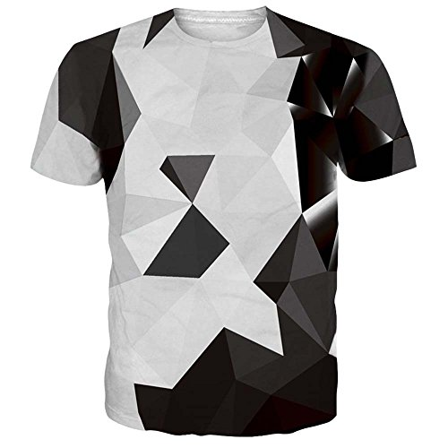 Alistyle Casual 3D Geometric Print Short Sleeve T-Shirts Graphic Pattern Unisex Couple Tees Top XL (Best Couple Printed T Shirts)