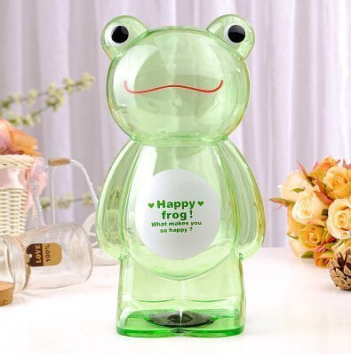 Plastic House Bank - Piggy bank Cartoon Plastic transparent Piggy bank Frog style Green The best baby gift