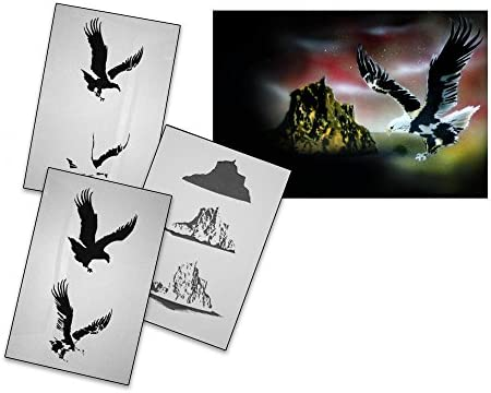 UMR-Design AS-081 Eagle Airbrush Stencil Template Step by Step Size M