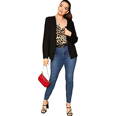 Romwe Women's Scallop Edge Peplum Open Front Elegant Blazer Jacket at Women's Clothing store