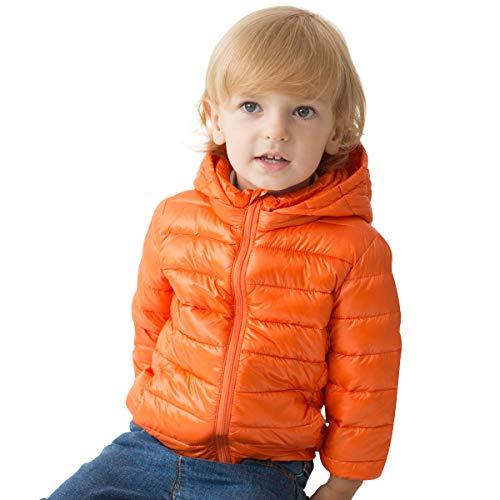 marc janie Girls Boys' Lightweight Packable Hooded Down Puffer Jacket 3 Years Orange
