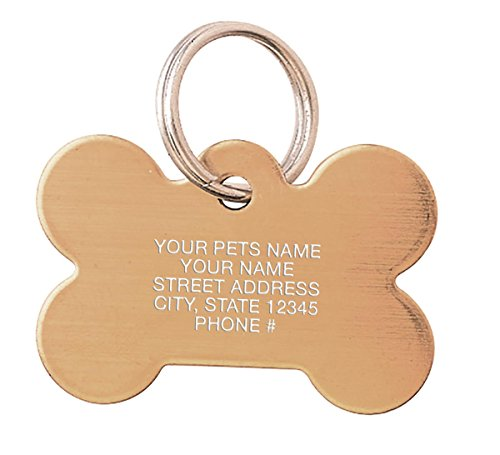 Solid Brass Bone Shape Pet Tag, Personalized Pet ID, Dog Tags and Cat Tags