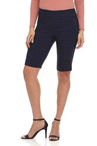 Rekucci Women's Ease in to Comfort Fit Pull-On Modern City Shorts (18,Navy Floral)
