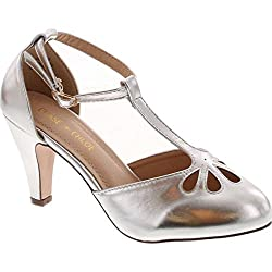 Chase Chloe Kimmy 36 Women S Teardrop Cut Out T Strap Mid Heel Dress Pumps Light Silver 10