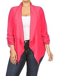 2LUV Plus Women's Open Front Gathered Sleeve Plus Size Blazer