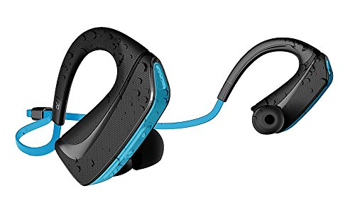 Jarv Pure Fit Bluetooth 4.0 Wireless Sport Headphones/Ear Buds - Sweat and Water-Resistant, Ear Hook Design - Blue