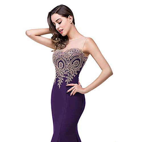 Purple S Vestidos Encaje Vestido Honor Dama Mangas Red Cuello color Mermaid Baile Apliques For Maxi Formal Auming Sin Dress De Women Size Evening Largos gqBwdnvp6