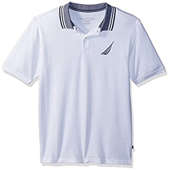 Nautica Little Boys' Short Sleeve Solid Deck Polo with Tipped Collar, Nathan White, 4