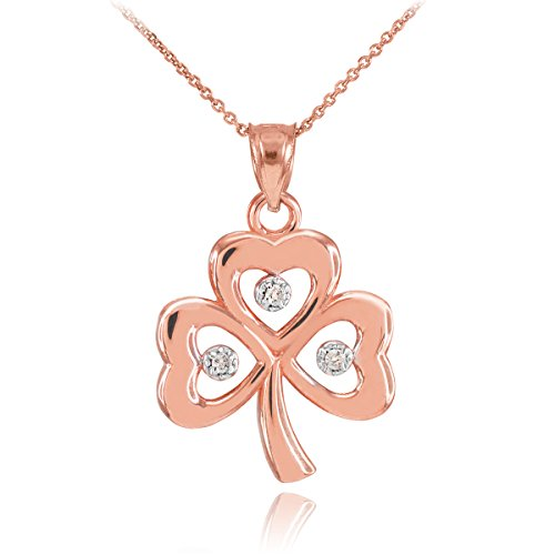 10 ct 471/1000 Or Rose 3-Blatt-Diamant-Klee-Pendentif Collier