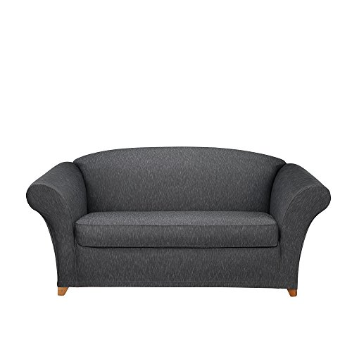 SureFit Stretch Denim One Piece Black Loveseat Slipcover