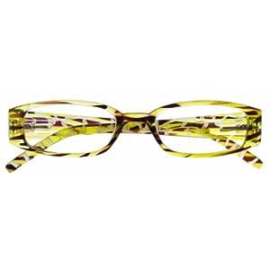 Zoom Eyeworks Plastic 3/4 Rectangle Reading Eyewear, +1.25, Green/Brown Giraffe