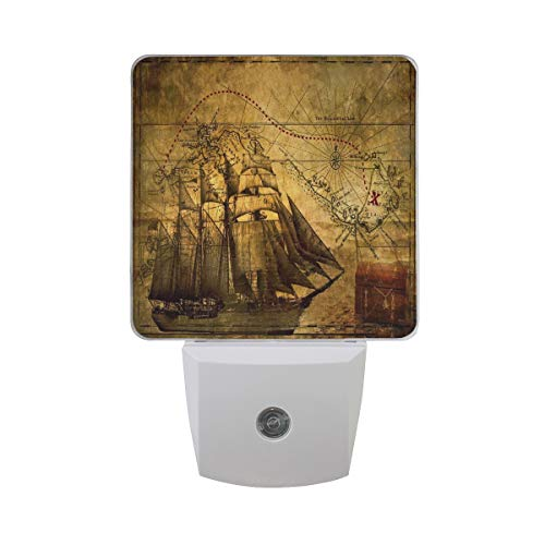 Night Lights for Kids Room/Hallway/Stairs/Bedroom Antique Map Compass Pirate,LED Light Lamp