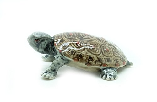Animal Miniature Handmade Porcelain Statue Brown Square Turtle Figurine Collectibles Gift