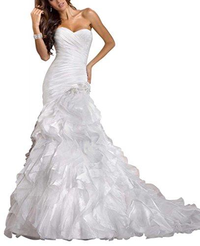 BRIDE Mermaid Brautkleider Hochzeitskleider Elfenbein Kapelle Zug Taft GEORGE 6Swqd6