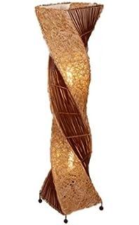 Stehlampe Aus Bambus U Rattan Auf Holzgestell Asiatische